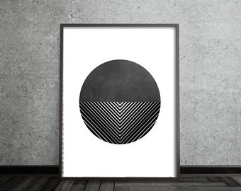 Circle Print, Abstract, Art, Poster, Mid Century Modern, Geometric, Line, Minimalist, Modern, Contemporary