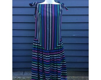 1980's does 1920's cotton dress . colorful stripes & drop waist . robe de style-inspired