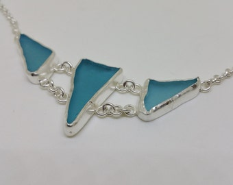 Teal Beach Glass Necklace - Sterling Silver