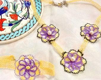 SALE----TURKISH LACE necklace set - gypsy necklace and bracelet -bohemian flower lace necklace