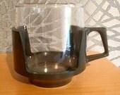 Vintage 1970's JAJ Pyrex Coffee cup - Grey plastic holder - Retro