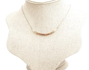 Moonstone Ombre Necklace, Genuine Moonstone, Everyday Jewellery, Dainty Jewelry - Sterling Silver (925)