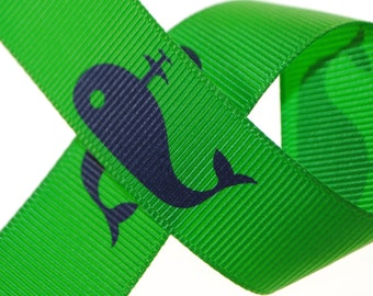 Whale Grosgrain 7/8 inch (22mm) wide - Two, Five, or Ten Yards
