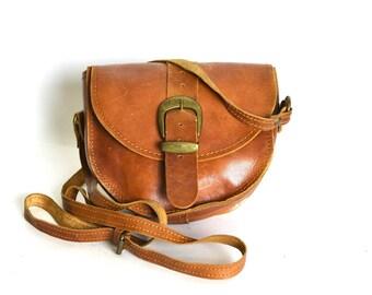 Vintage Distressed Whiskey Leather Saddle Crossbody Bag