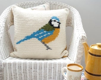 Spring Decor, Easy to Make, Crochet Pattern, Cushion Cover, Blue Tit, Bird Pillow, Lodge Decor, Lake House, Summer Picnic, Mothers Day Gift