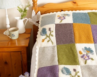 Afghan Crochet Pattern, Bed Throw, Patchwork Blanket, Intarsia Crochet, Spring Decor, Lap Blanket, Farmhouse Style, Lodge Throw Baby Bedding