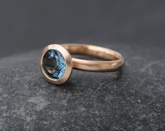Blue Topaz Ring in 18K Rose Gold - London Blue Topaz Gold Ring - Blue Topaz set in 18K Rose Gold - Made to order - FREE SHIPPING
