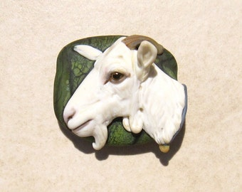 LG. White Billy Goat - Glass Lampwork Sculpture Bead - SRA
