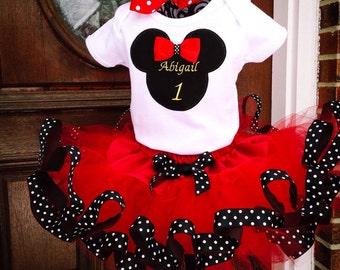 Birthday Minnie/Mickey 2 Piece Tutu Set Personalized Disney World Land Family Shirts Trip