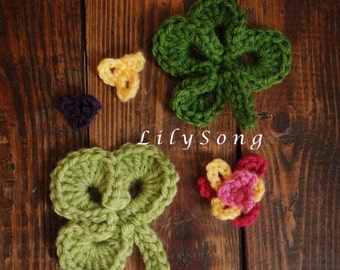 LilySong Clover Crochet Embellishments : See link for FREE Crochet Pattern