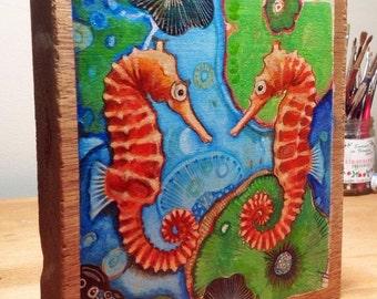 """Woohoo Weekend Sale Seahorse original painting on wood panel 7.5"""" x 8"""""""