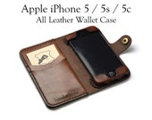 iPhone 5 / 5s / 5c Leather Wallet Case - No Plastic - Free Inscription