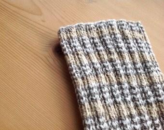 L Beige PICC Line / IV Cover (Armband), tan, grey, white, neutral, machine wash, intravenous, chemo, lyme, tpn, hand knit, cotton, elastic