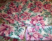 Vintage, Pink Poinsettia,, Place Mats and Napkins, Holiday Decor, Shabby Chic Christmas, Ponsettia