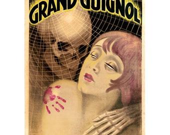 Grand Guignol Theatre 11x14 Fine Art Print - Limited Edition, Theater of Terror, Macabre, Horror, Gothic Archival Antique Artwork