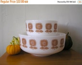 ON SALE 20% Off Federal Glass Sunflower Milk Glass Mixing Bowls