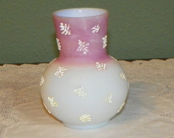 Victorian EAPG VASE Pink white coralene decorated frit Glass antique cased coralline