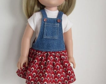 Doll Clothes for 14.5 Inch Dolls Denim and Cotton Print Jumper and T-Shirt for 14.5 Inch Dolls  Fits WellieWishers™