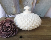 Beautiful Milk Glass Diamond Candy Dish/Westmoreland Milk Glass/Trinket Dish with Fitted Lid