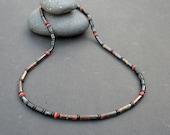 Men Tigereye Necklace, Black Agate, Coral, Men Beaded 925 Sterling Silver Necklace, Golden Red Tigereye Iron