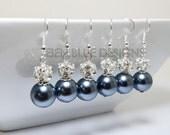 Pewter Pearl Earrings, Pearl and Rhinestone Earrings, Charcoal Pearl Earrings, Dark Gray Earrings, Pewter Earrings, Silver Pearl Earrings