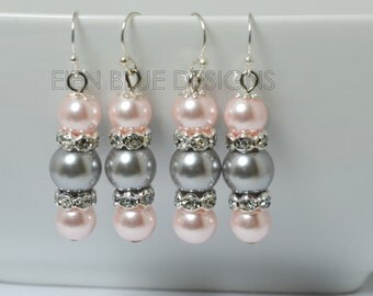 Gray and Pink Pearl Dangle Earrings, Pearl Earrings, Pearl Dangle Earrings, Pink Pearl Earrings, Gray Pearl Earrings, Bridesmaid Earrings