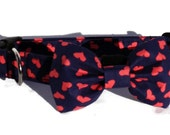 Valentine Dog Collar and Bow Tie Set for Small to Large Dogs