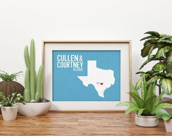 Texas Wedding Gift - Personalized State and Heart - Anniversary - Custom Wedding Date - Location City and State Modern Art Print - 8x10