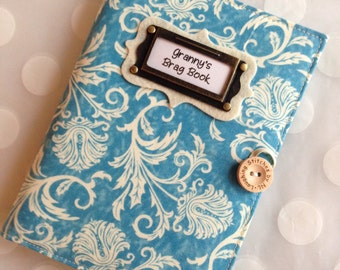 Brag Book  Personalized Photo Album holds 48 Photos-Blue Damask