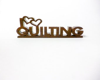 I Love Quilting, I Heart Quilting Desk Plaque/ Nameplate, Quilting Accesorries