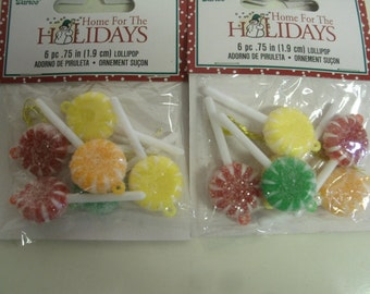 """Lot of 12 Miniature Christmas Ornaments Sugared Candy Lollipops - 1.75"""""""