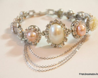 Special Listing Custom order for Nimmi - Two pairs of earrings and a bracelet,Silver tone,blush champagne pearls,Swarovski clear rhinestones