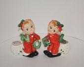 Vintage 1950's Pair Noel Pixie Elf Girls Ceramic Candle Holders Commodore Japan