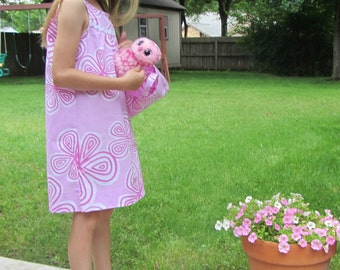 Handmade Boutique Pink Flowers Shift Dress Sundress with Matching Purse size 3 4 5 6 7 8
