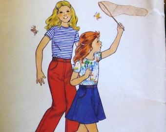 Butterick 4674 girls top, skirt, pants, breast 27 pattern, hip 28 pattern, knit top pattern, girls separates, girls skirt pattern