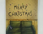 Stranger Things Inspired Christmas Greeting Card Watercolor Painting Hand Painted