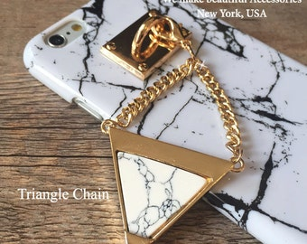 Glamorous Classic Marble Printed Pattern Gold Hook with White Gray Marble Gemstone Triangle or Cone Shape Chain For iPhone SE 6s PLUS 5s