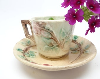 Antique English Majolica Cup and Saucer, Rose Pattern