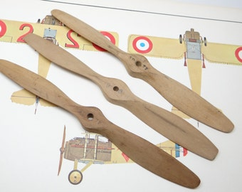 3 Vintage Model Airplane Wooden Propellers, 9 inch