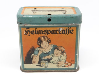 1920's German Savings Tin Bank, Aubach & Neuwied