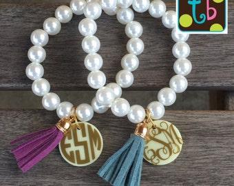 Personalized Monogram Pearl Tassel Bracelet