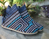 Funky Womens Ankle Boots In Turquoise Hmong Embroidery Short Boot - Amber