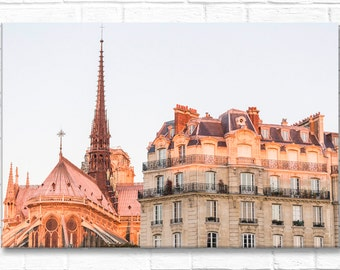 Paris Photography on Canvas - Ile de la Cite, Gallery Wrapped Canvas, Large Wall Art, Neutral Architectural Urban Home Decor