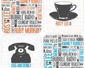 Cockney Rhyming Slang Coaster - Set of 4