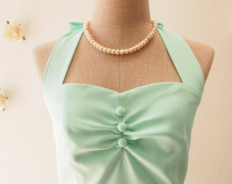 Mint green dress vintage inspired party dress prom dress evening dress mint green bridesmaid dress party dress - size XS-XL, custom