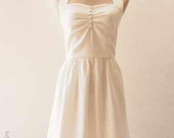 Off White Prom Dress 1950 Halter Wedding Dress, Bacholerette Vintage Dress Off White Party Dress White Summer Dress Bridesmaid Dress