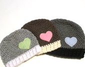 Baby Valentine's day hat.  Made to order.  Baby beanies with felt hearts.  Baby photo prop or baby shower gift.  Valentines day.