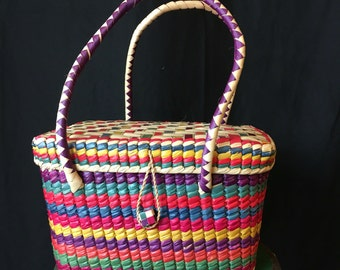 Vintage Woven Reed Square Purse Multi-color A343