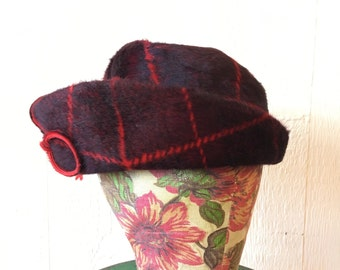 Vintage 60s Stetson Hat Red Plaid Mohair Mod A325