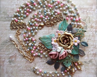 Statement Necklace, Floral Necklace, Multifloral Necklace, Spring Fling, Floral Statement, Vintage Rosary Chain, Pastel Floral, Statement